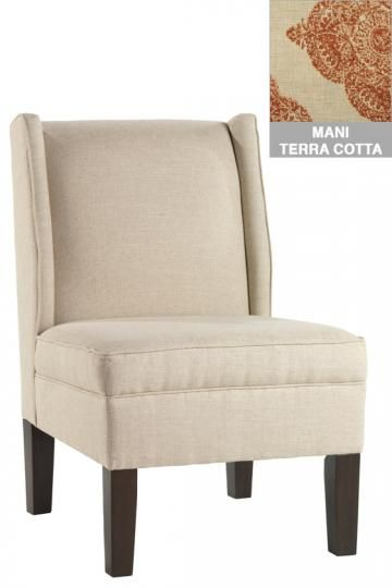 Merveilleux Armless Wingback Chair In Mani Terracotta Fabric   Echoes The Lines Of The  Headboard #HomeDecorators