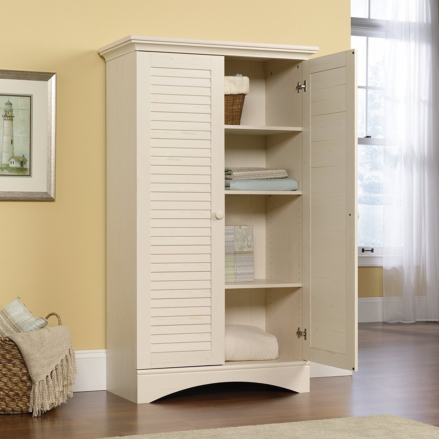 Amazon Sauder Harbor View Storage Cabinet Antiqued White