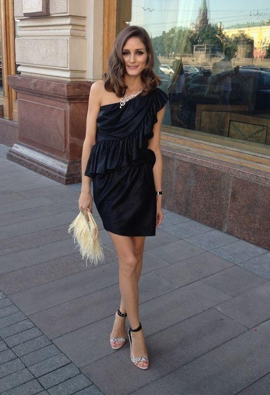 Olivia Palermo – bensoni one shoulder ruffle dress, tibi heels, feather clutch