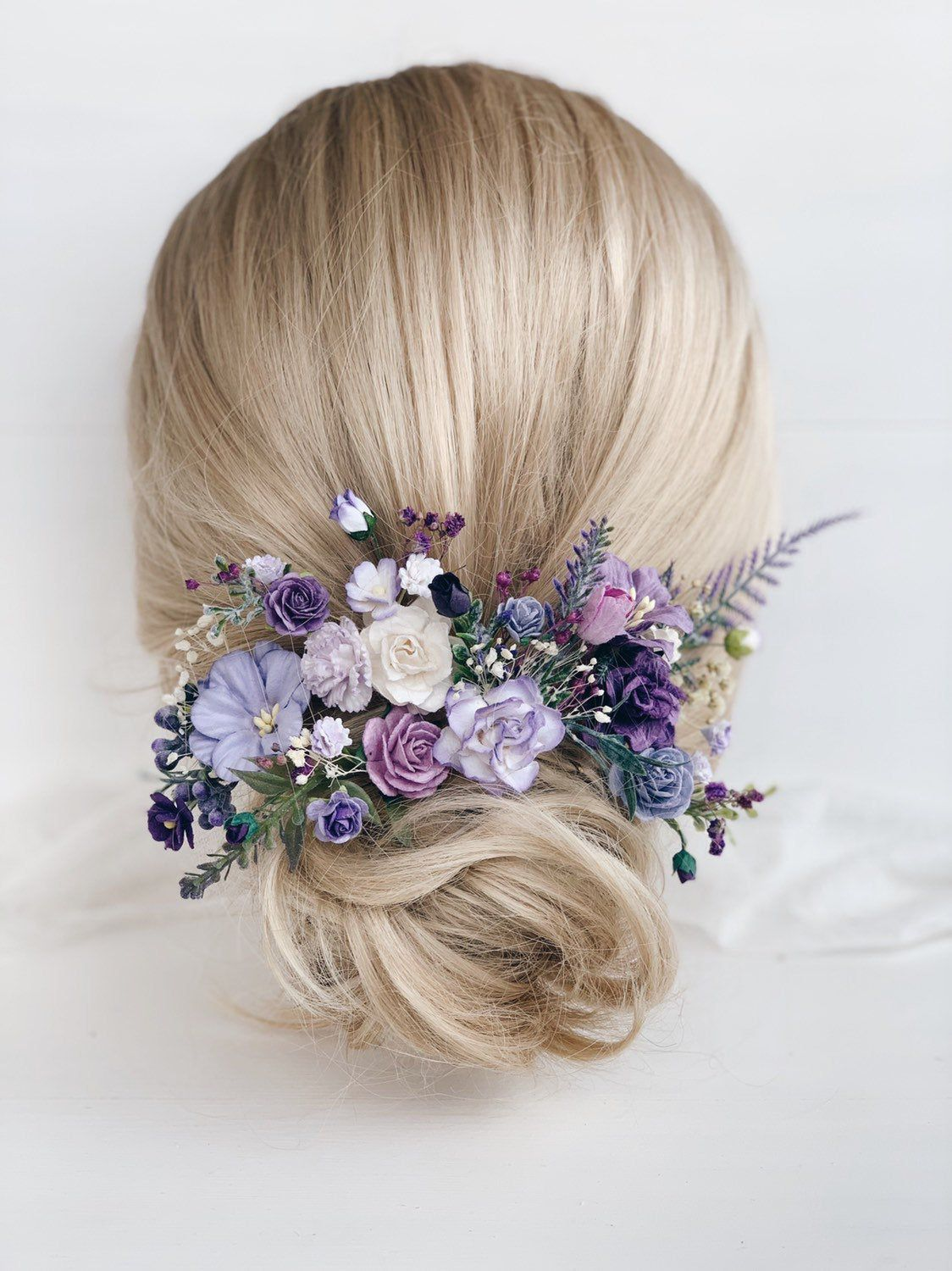 Flower Hair Pins Wedding Flower Hair Clip Lavender Flower Etsy In 2020 Flower Hair Pin Bridal Flower Hair Pins Flower Hair Pieces