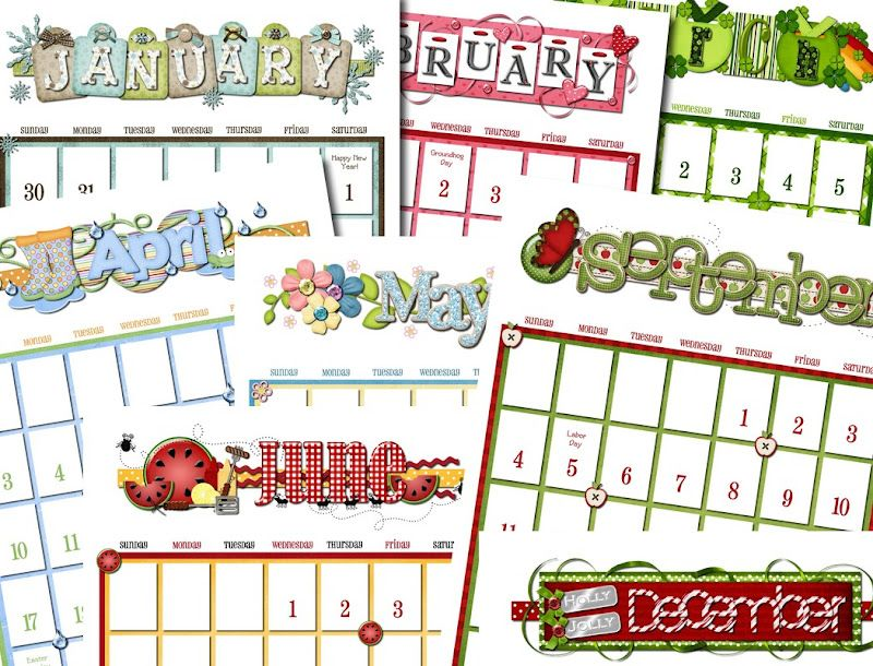 Printable Calendars - fun holiday/seasonal designs each ...