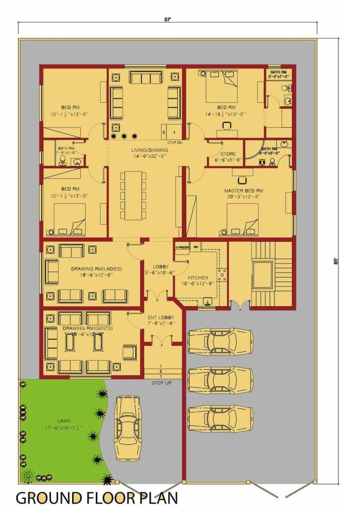 Duplex House plan 1 kanal House by 360 Design Estate Home
