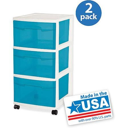 Sterilite 3 Drawer Cart- Aqua Blue Tint Set of 2 This is a cute cheaper option than container store drawers  sc 1 st  Pinterest & Sterilite 3 Drawer Cart- Aqua Blue Tint Set of 2 This is a cute ...