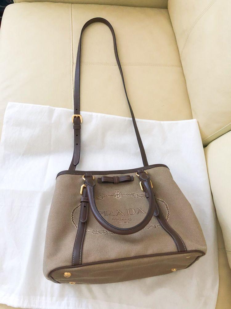 eba1fbe71e2 Prada Logo Jacquard canvas Top Handle Crossbody Bag. Color=brown | eBay