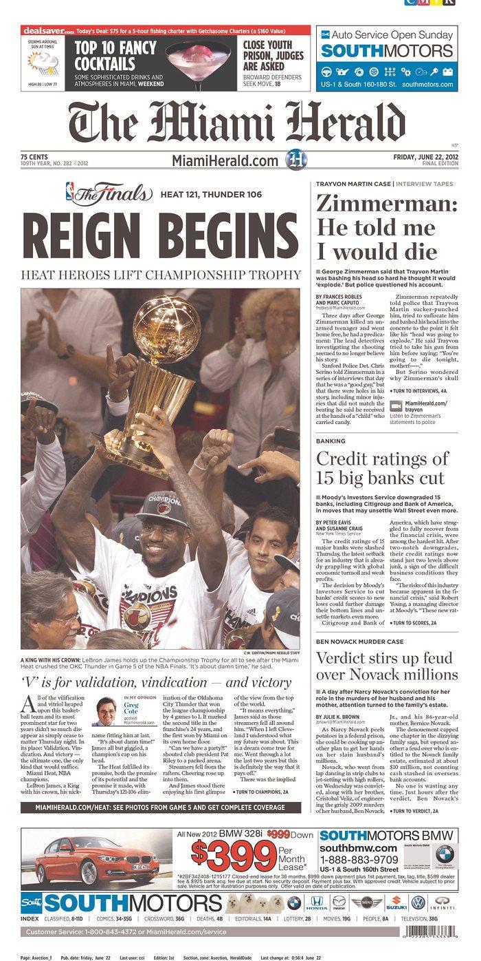 June 22 2012 The Miami Herald From Miami Florida Miami Heat Newspaper Cover Miami