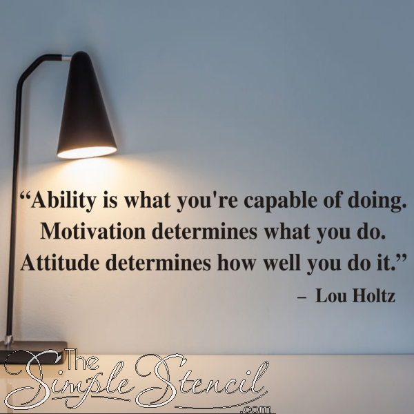 Ability Motivation Attitude Quote By Lou Holtz Inspirational Wall