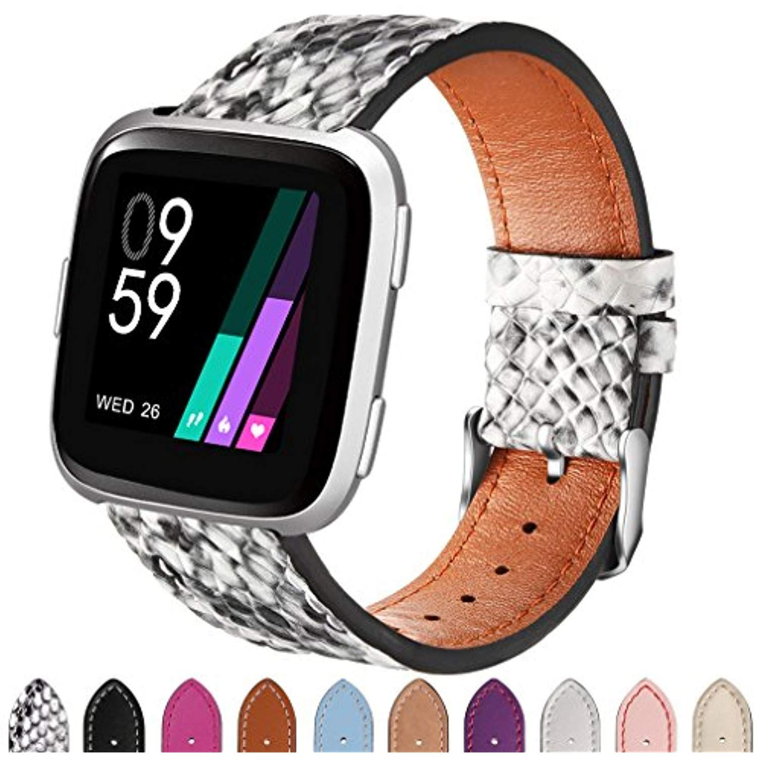 Hamile For Fitbit Versa Bands Leather Fitbit Versa Smartwatch