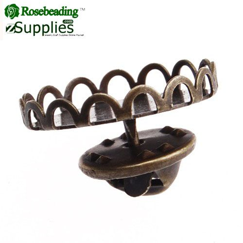 18mm Antique Bronze Plated Brass Brooch,Tie Tac Clutch with 18mm Round Bezel Cup,sold 50pcs per pkg
