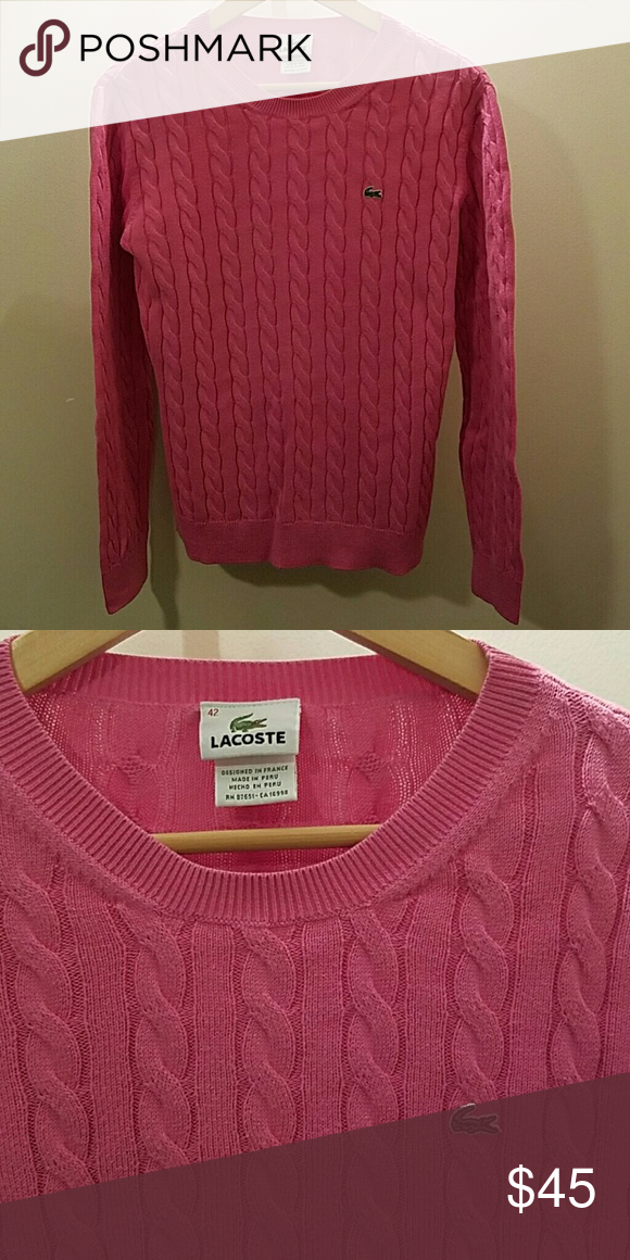 Lacoste sweater Pink crew neck cable sweater good condition. Size 42 on tag Lacoste Sweaters