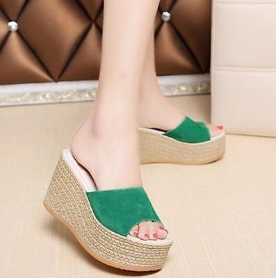 Fashion wedge Donna wedge Fashion high heel sandals mules slip on espadrilles   ca07b0