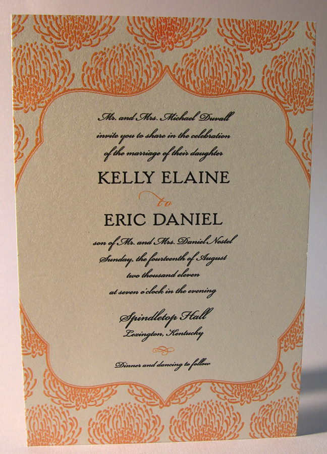 Thermography Wedding Invitation Two Color With Bleed Printed On Stardream C