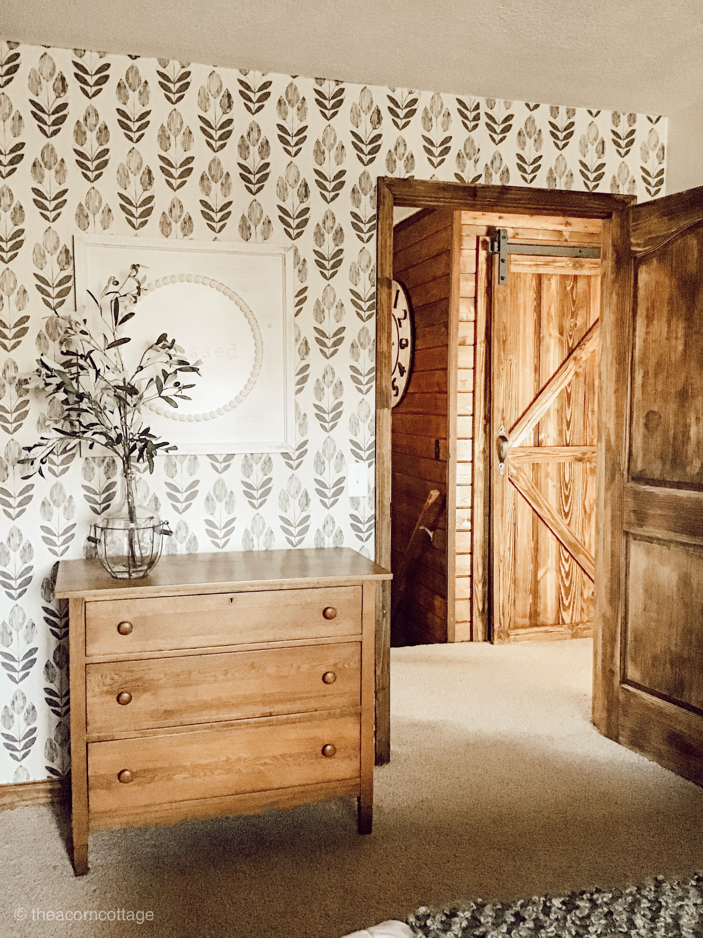 Fabulous peel and stick wallpaper! Farmhouse style at its