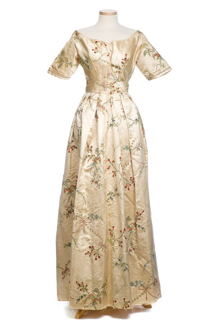 Embroidered silk dress, 1830s, the fabric is probably 18th