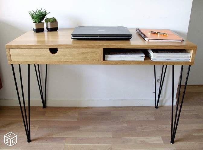Bureau bois massif métal épingle design sur mesure ameublement