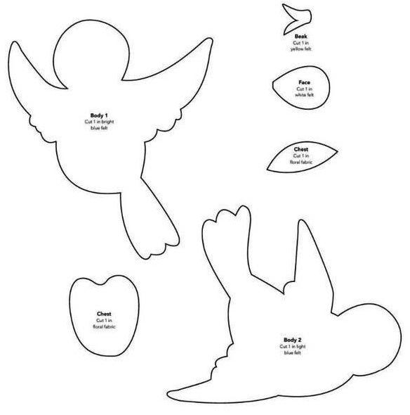Patrones de pájaros para los juguetes de coser (15) (584x590, 73Kb ...