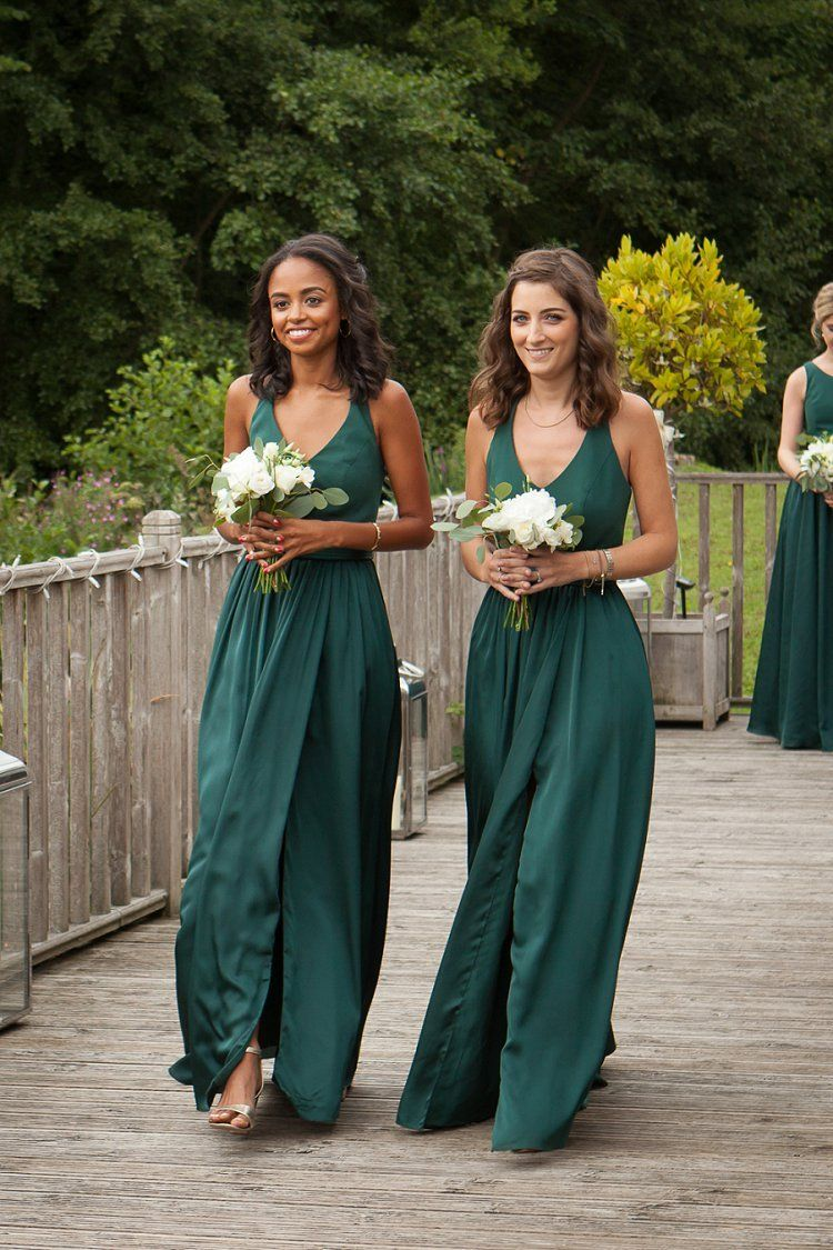 264b1356f0 David s Bridal UK Bridesmaids in WHITE by Vera Wang Juniper green  bridesmaid dresses