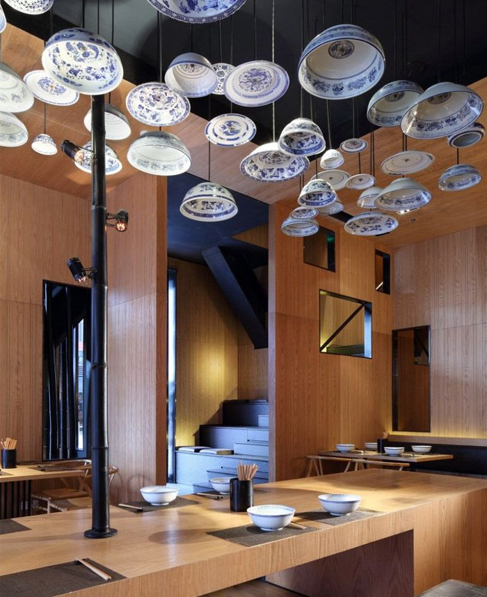 Noodle bar interior design objects installations