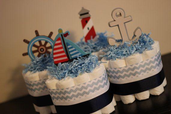 Set of 4 Mini Nautical Diaper Cakes, Nautical Baby Shower, Nautical Shower Centerpiece Decor on Etsy, $40.00