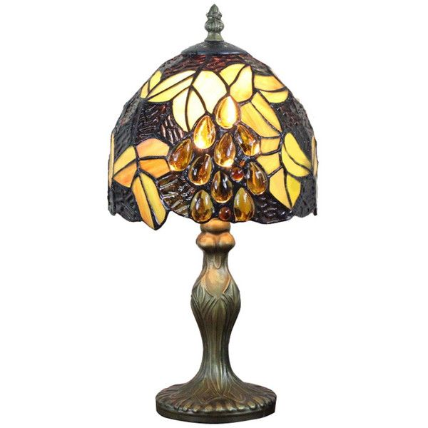 Luxury Jeweled Tiffany Table Lamps for Night Lighting ($110) ❤ liked on Polyvore featuring home, lighting, table lamps, leaf lamp, art nouveau stained glass, art nouveau light, art nouveau lamp and art nouveau lighting