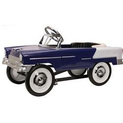Retro Tri-Five 1955 Chevy Steel Metal Pedal Car, Blue/White