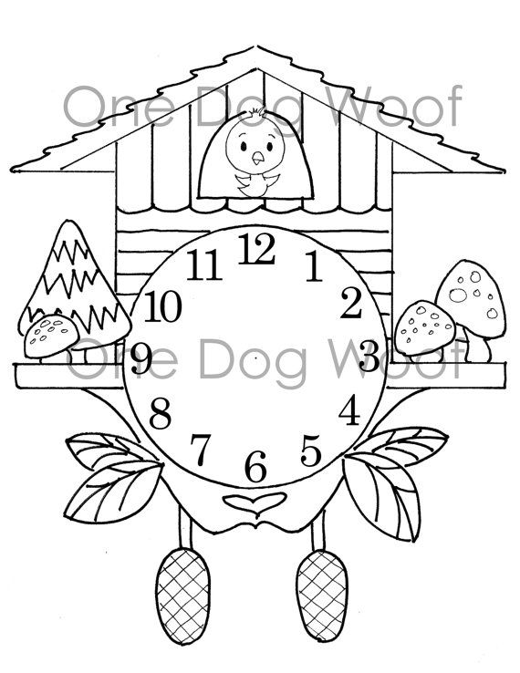 Create Your Own Cuckoo Clock Digital Print Coloring Page Coloring Pages Coloring Books Bear Coloring Pages