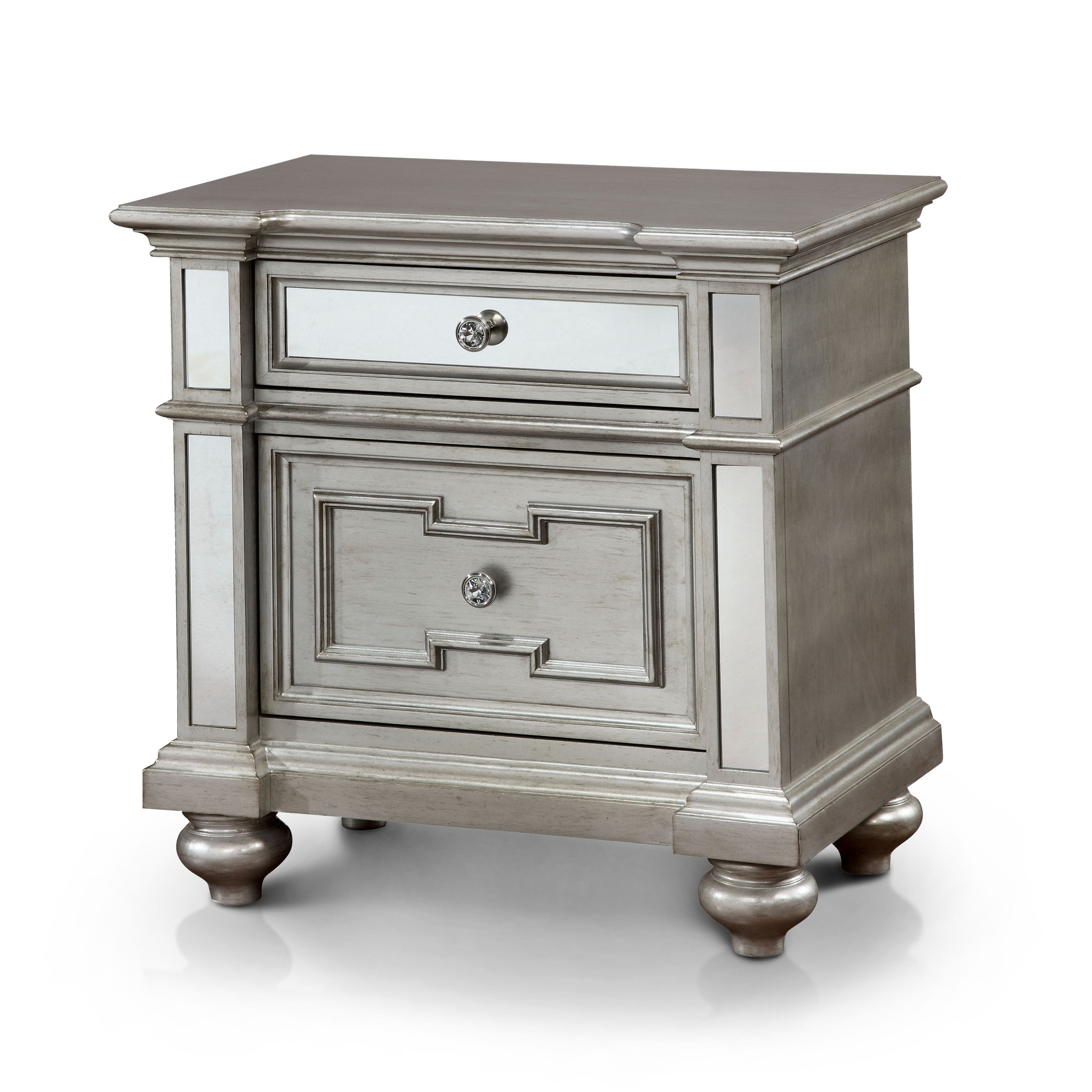Furniture Of America Eaen Contemporary Champagne Solid Wood Nightstand With Images Furniture Of America Furniture Mirrored Nightstand