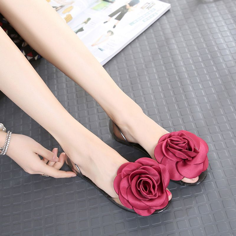 9beb26b56ac1 Sweet Rose Flowers Lady Jelly Shoes Women Transparent Sandals Flat Summer  Shoes Woman Casual Flats Open Toe Sandals Mujer