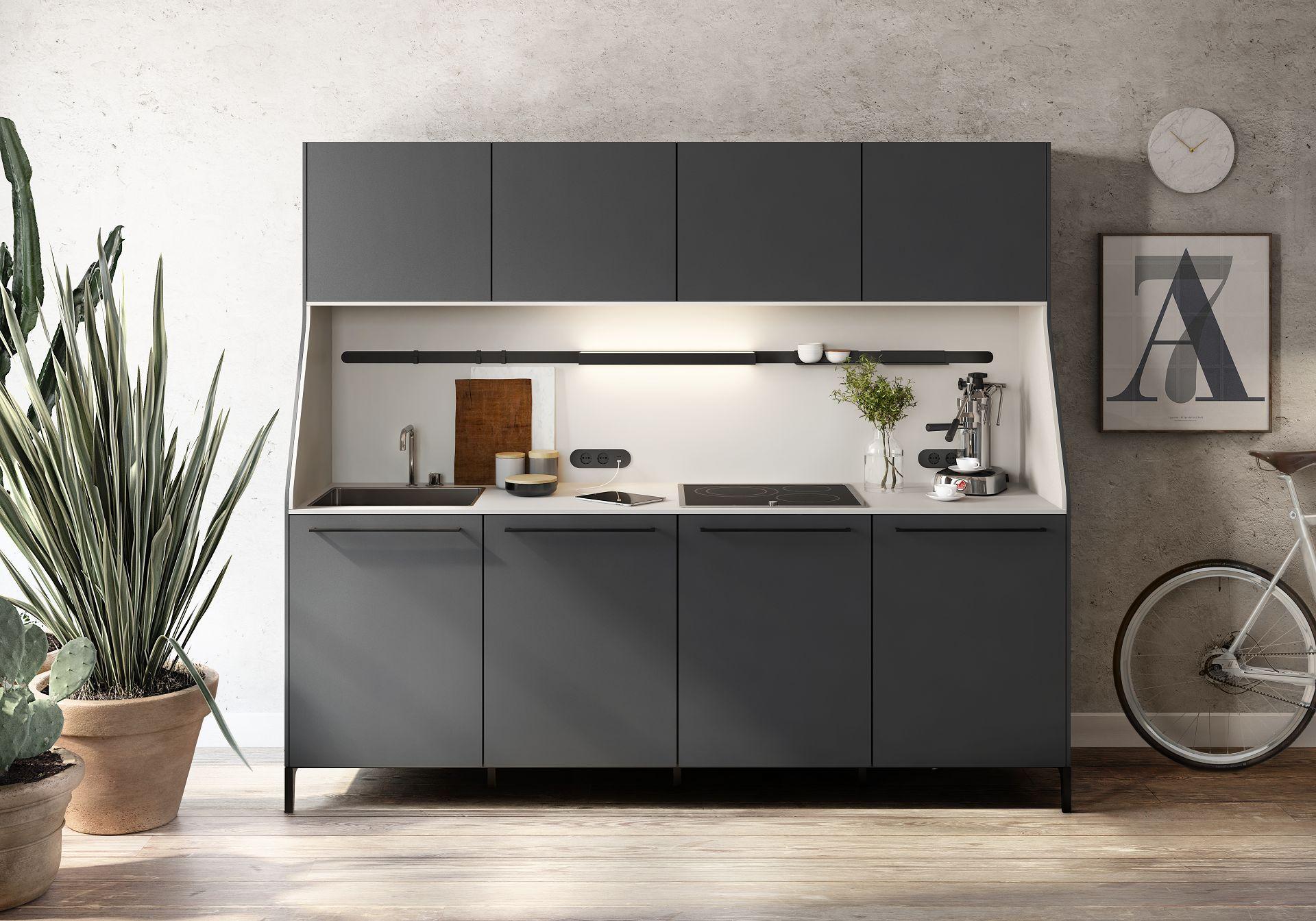 blick auf das k chenb fett siematic 29 aus der stilwelt urban in graphitgrau mit sp le und. Black Bedroom Furniture Sets. Home Design Ideas