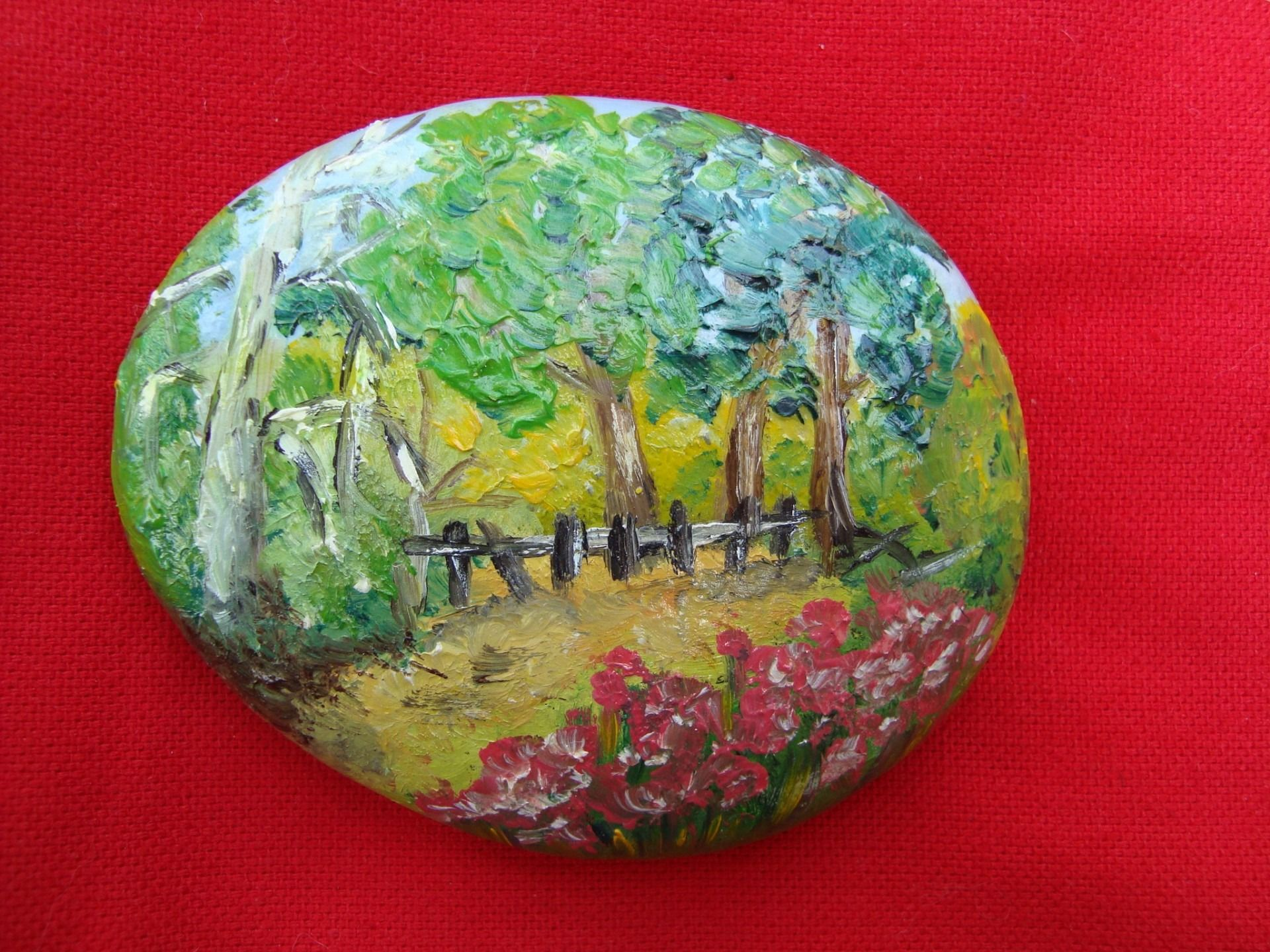 galet peint peinture paysage miniature l 39 huile pierre multicolore peintures par ricochet. Black Bedroom Furniture Sets. Home Design Ideas
