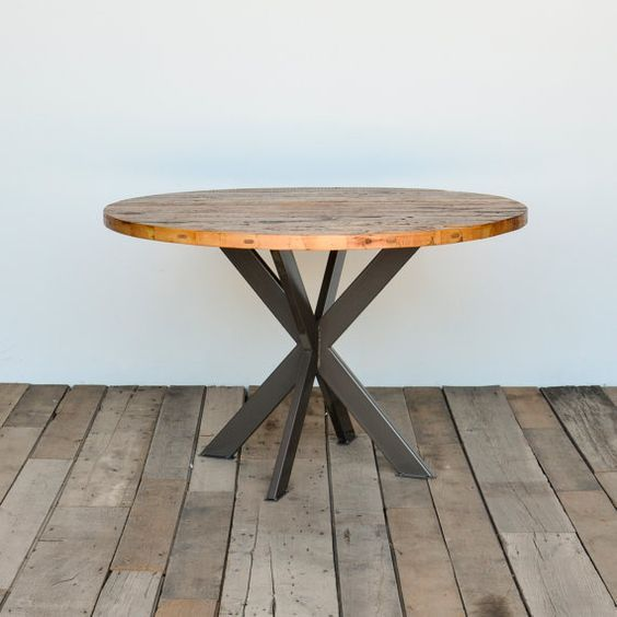 Round Dining Table In Reclaimed Wood And Pedestal Steel Legs In