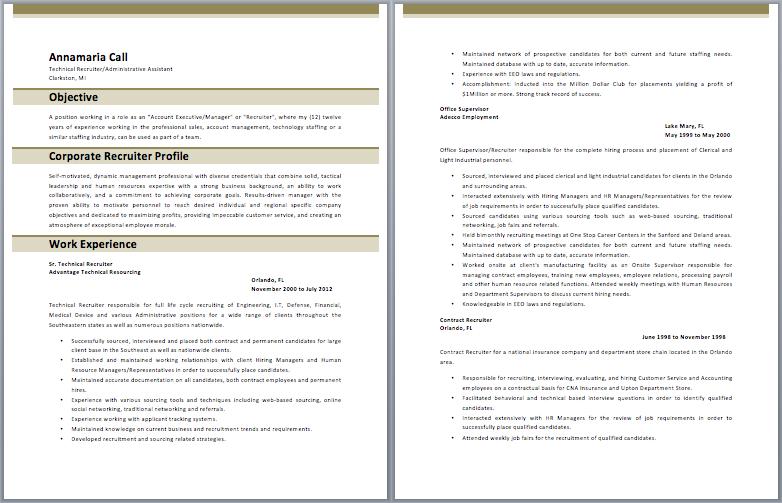 Corporate Recruiter Resume resume Corporate recruiter