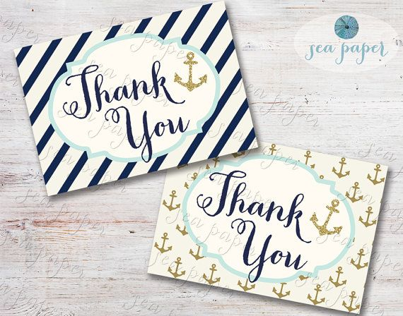 Printable Nautical Thank You Card For Baby Shower  Bridal