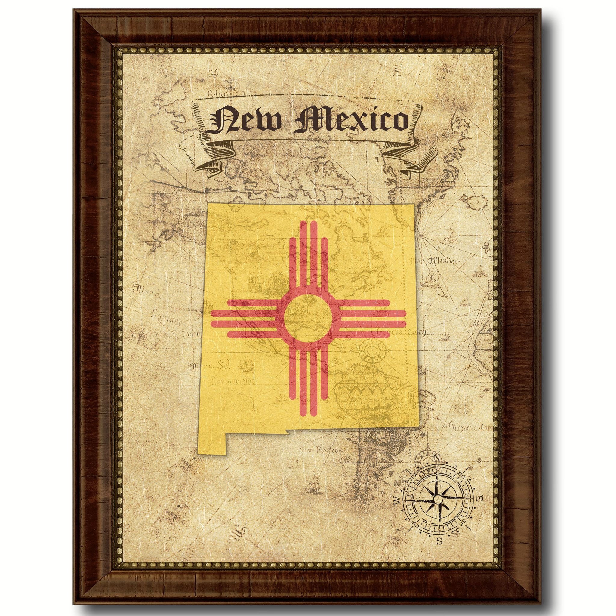 New Mexico State Vintage Map Home Decor Wall Art Office Decoration ...