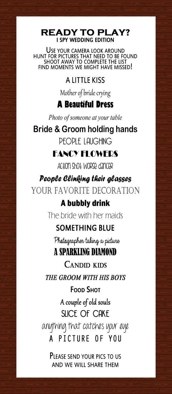 I SPY Wedding Reception Game | Wedding reception games, Spy and ...