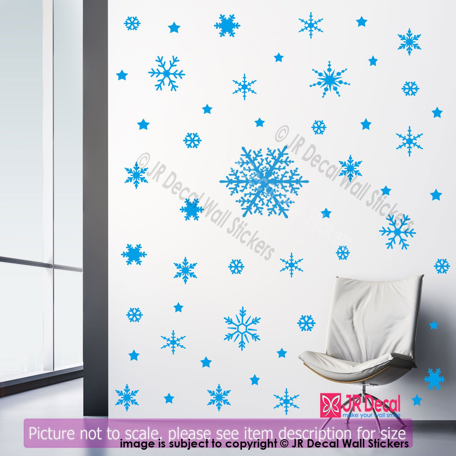 100 Snowflake Christmas Vinyl Wall Art Sticker Xmas Shop Window