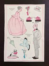 Little Women Series, Aunt March & Mr. March Paper Dolls, Wee Wisdom Mag. 1937