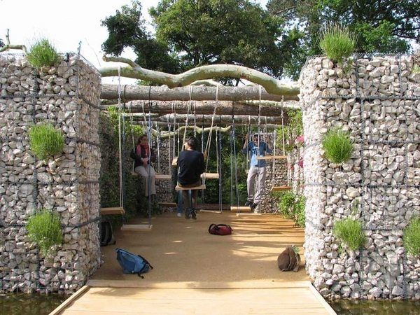 gabion wall design ideas kids playground garden decorating ideas