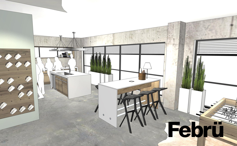 Cafeteria: moderne Cafeteria mit Kochinsel, Stehtisch und Kicker für ...
