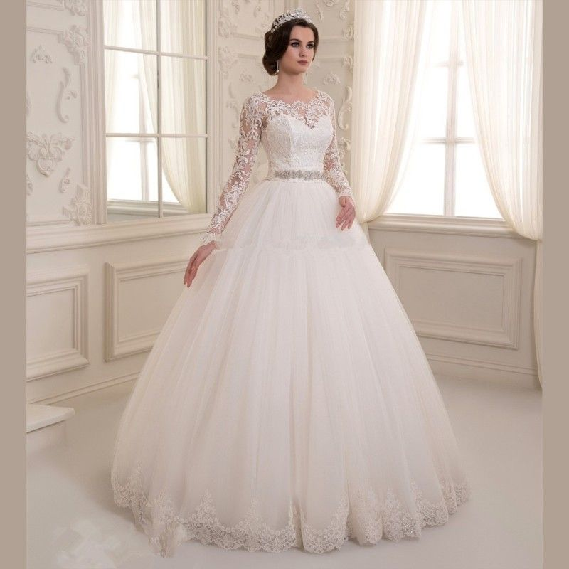 Long Sleeve Ball Gown Tulle Wedding Dresses 2017 O Neck Lique Sequined Sashes Bridal Gowns