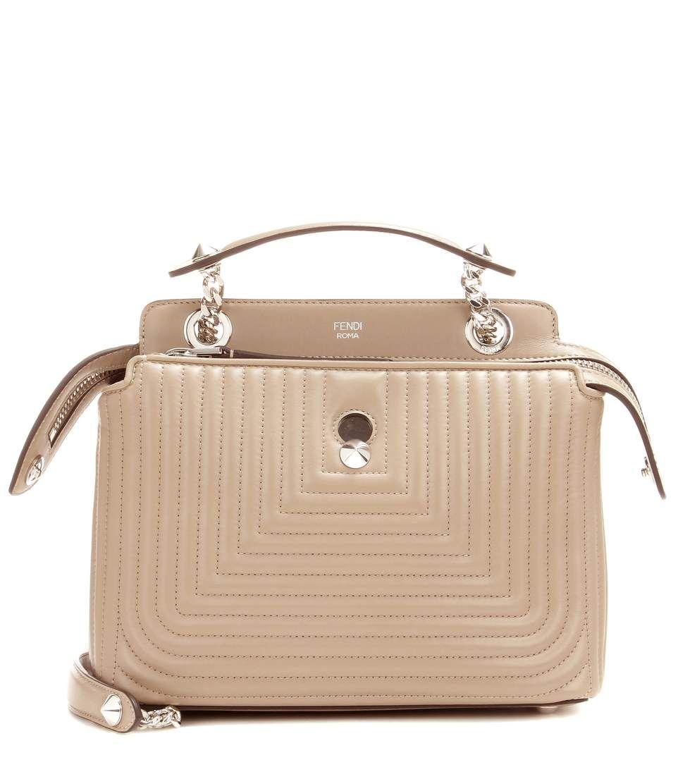 Dotcom Click taupe leather shoulder bag
