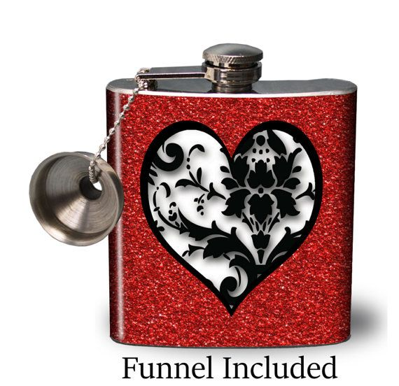 Hip Flask  Valentine's Day Flask  Red Glitter by AGiftToLove
