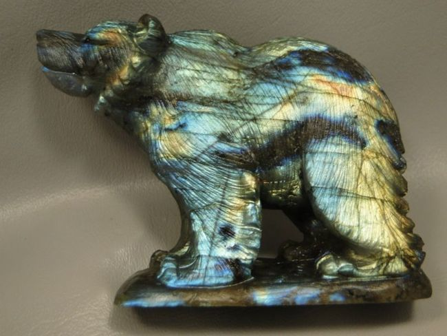 Oakrocks bear labradorite animal inch carving rock