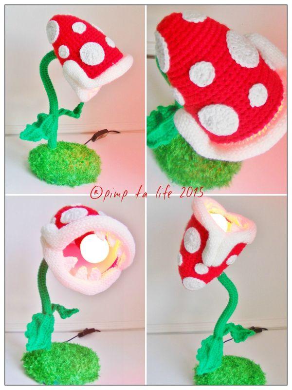 Lampe plante carnivore piranha mario bros crochet by pimp ta life 2015 by pimp ta life - Plante carnivore mario ...