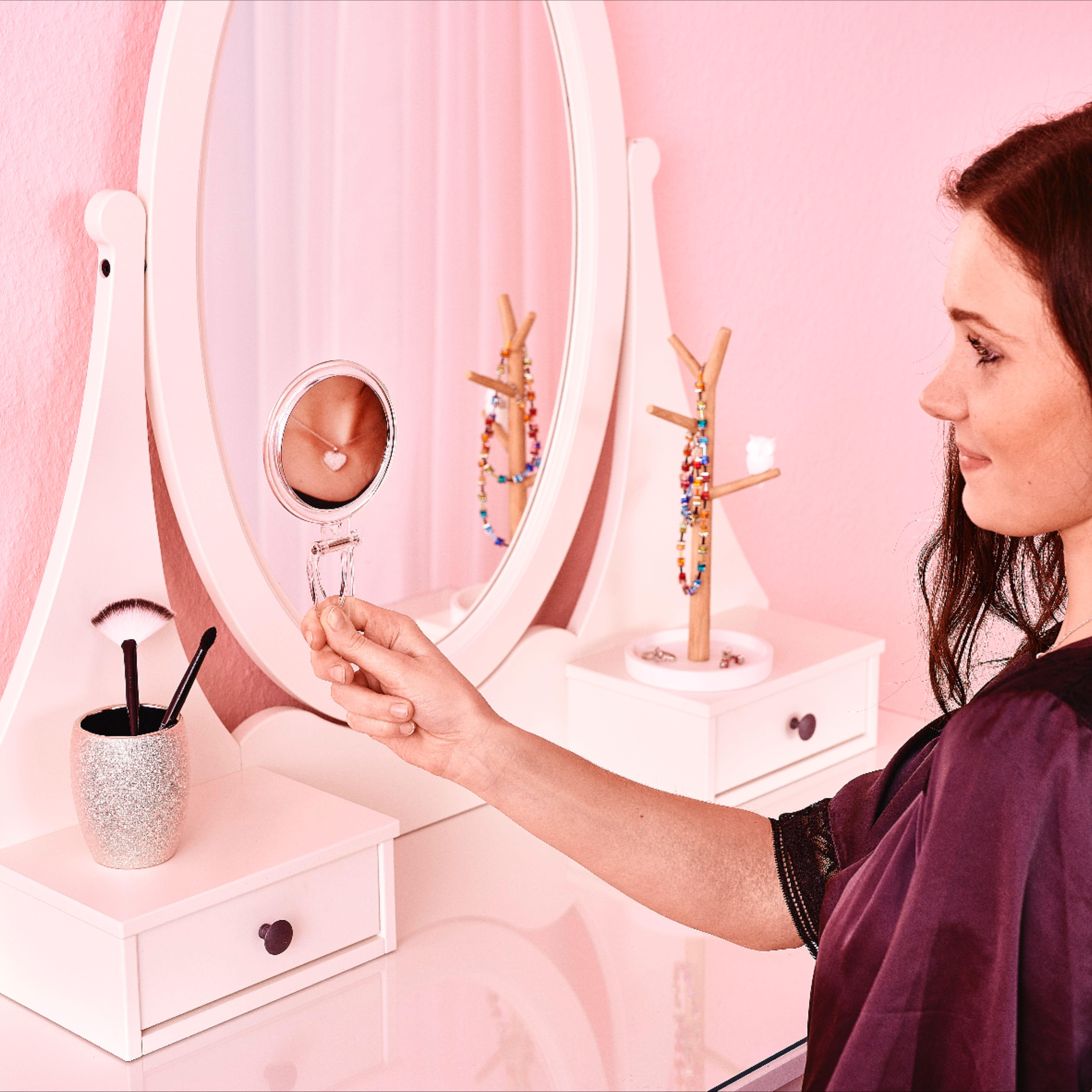 Kosmetik Handspiegel Crysta Mit 1x 10x Vergrosserung Transparent In 2020 Handspiegel Schminkspiegel Kosmetik