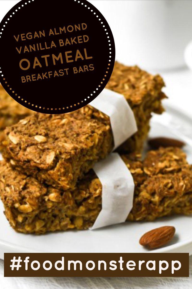 Almond Vanilla Baked Oatmeal Breakfast Bars Vegan Gluten Free Vegan Snack Recipes Yummy Snacks Vegan Snacks