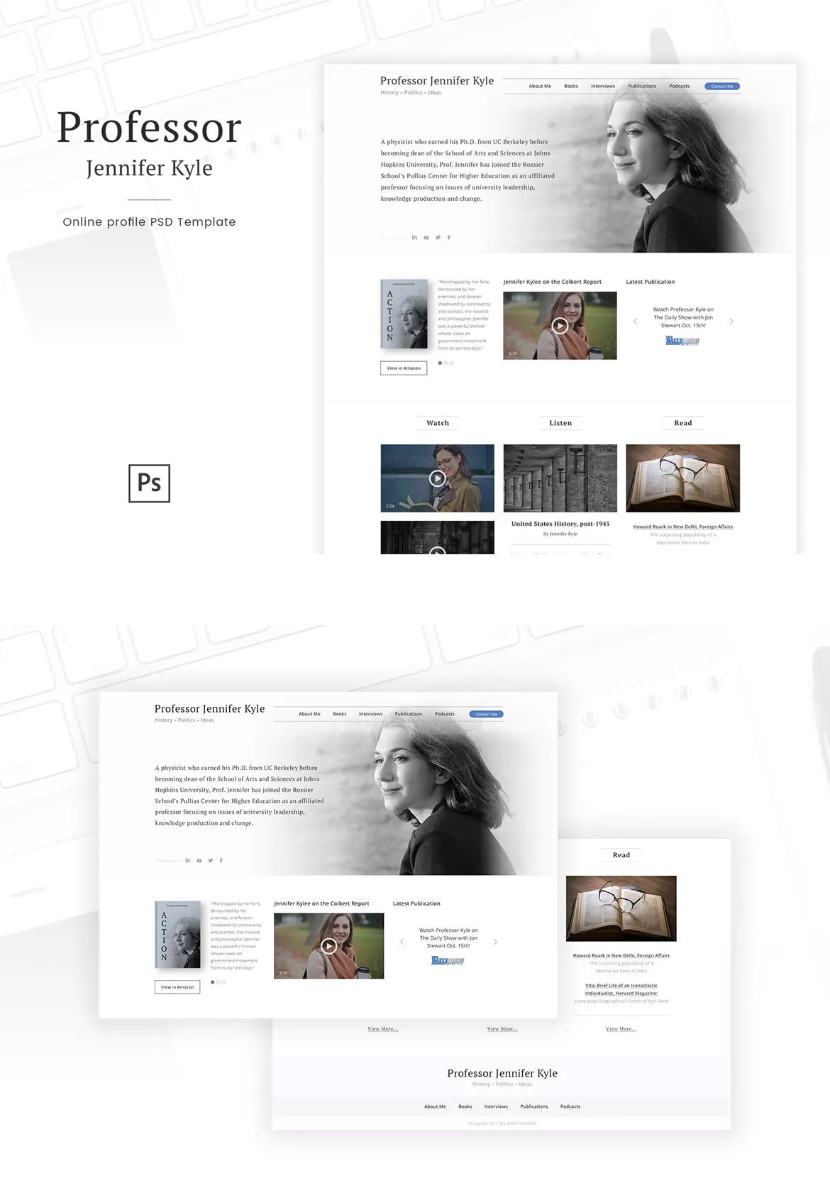 professor online profile personal blog psd website template