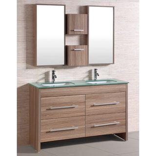 54 vanity double sink. Cabana Bath Natural Glass Top 54 Inch Double Sink Bathroom Vanity Set