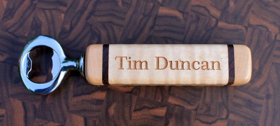Laser Engraved Personalized Maple Bottle Opener by NordenDesigns