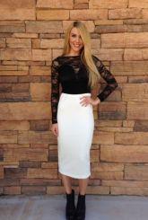 White Midi Pencil Skirt with Zipper Back Detail