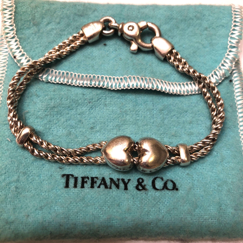 382fbfe7b Tiffany & Co. Sterling Silver Sliding Hearts Double Rope Bracelet Italy-  RARE!